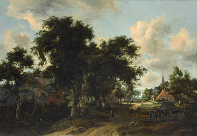 Sky Painting - Entrance To A Village by Meindert Hobbema