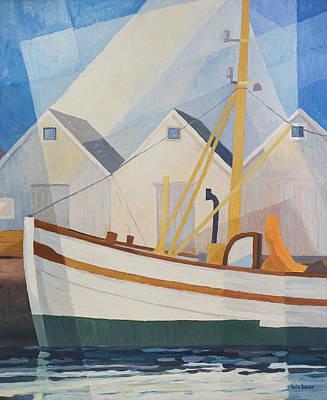 Handpainted Painting - Fishing Boat by Lutz Baar