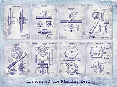Fishing Reel Patent History Print by Jon Neidert