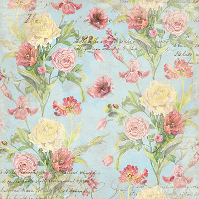 Aged Patina Painting - Fleurs De Pivoine - Watercolor In A French Vintage Wallpaper Style by Audrey Jeanne Roberts