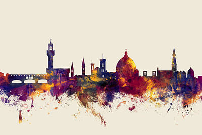 Cityscape Digital Art - Florence Italy Skyline by Michael Tompsett