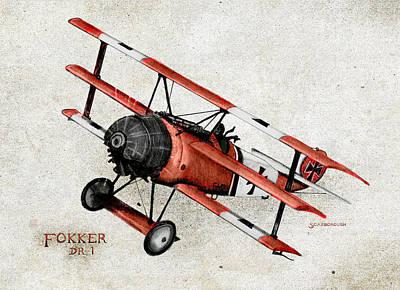 Fokker Dr 1 1917 Original by Larry Scarborough