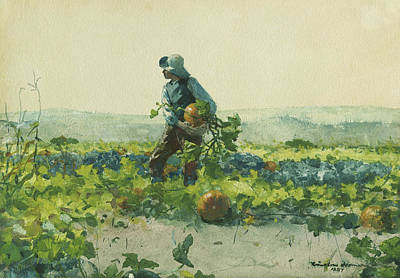 Pumpkin Drawing - For To Be A Farmer's Boy by Winslow Homer