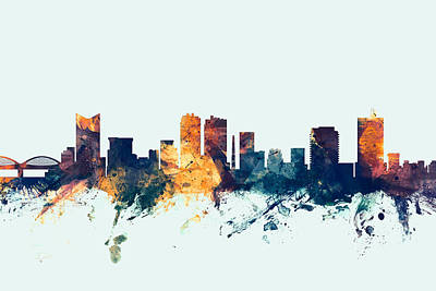 Silhouette Digital Art - Fort Worth Texas Skyline by Michael Tompsett