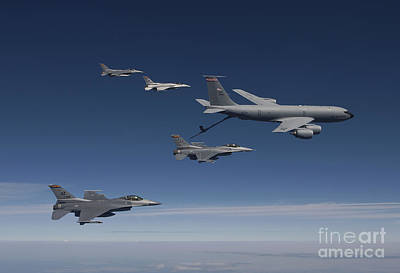 Stratotanker Photograph - Four F-16s And A Kc-135 Fly by HIGH-G Productions