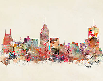 Colourfull Painting - Fresno California Skyline by Bri B