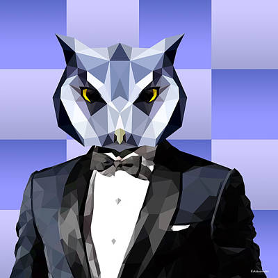 Owl Digital Art - Geometric Owl by Filip Aleksandrov