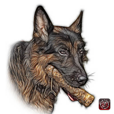 German Shepherd And Toy - 0745 F Print by James Ahn