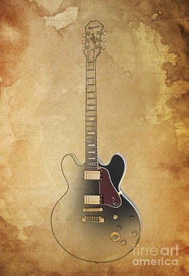 B B King Drawing - Gibson Lucille Guitar by Pablo Franchi