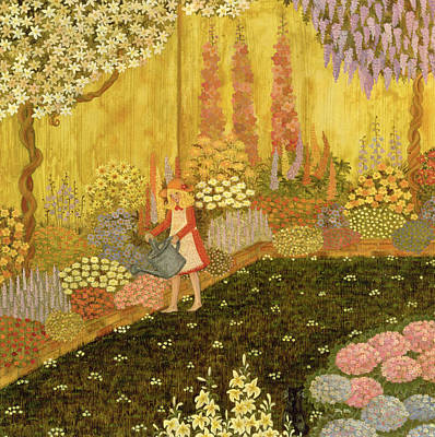 Foxglove Flowers Painting - Girl In The Garden by Ditz