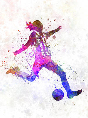 Girl Playing Soccer Football Player Silhouette Print by Pablo Romero
