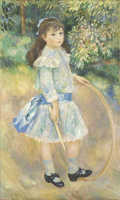 Hula Girl Art Painting - Girl With A Hoop by Pierre Auguste Renoir