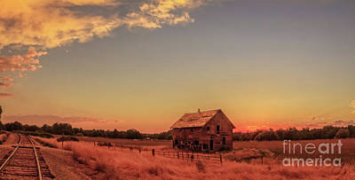 Haybales Photograph - Glowing Sunset by Robert Bales