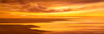 Golden Panoramic Sunset Print by Gina De Gorna