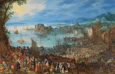 Outlook Painting - Great Fish Market by Jan Brueghel the Elder