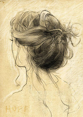 Loose Style Drawing - Hair Study by H James Hoff