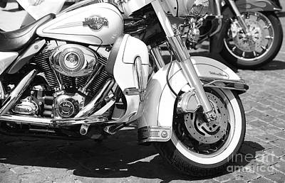 White Harley Davidson Bw Print by Stefano Senise