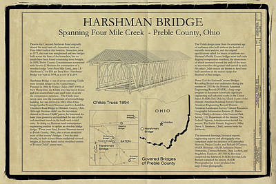 Harshman  Covered Bridge  Print by Jack R Perry