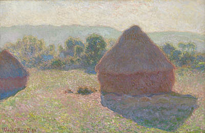 Midday Painting - Haystacks Midday by Claude Monet