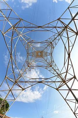Lines Photograph - High Voltage Pylon by George Atsametakis