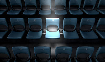 Spectators Digital Art - Highlighted Stadium Seat by Allan Swart