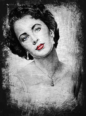 1950s Portraits Drawing - Hollywood Greats Elizabeth Taylor by Andrew Read