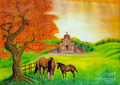 Painting - 2 Horses Under A Maple Tree. by Fine art Photographs