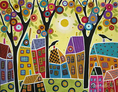 Houses Trees And Birds Print by Karla Gerard