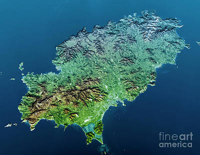 Cartography Digital Art - Ibiza Island Topographic Map 3d View Color  by Frank Ramspott