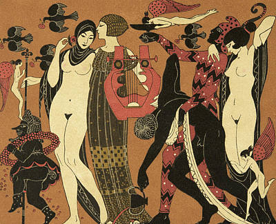 African Erotic Painting - Illustration From Les Chansons De Bilitis by Georges Barbier