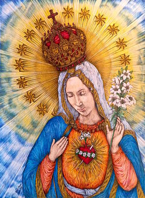 Promotion Drawing - Immaculate Heart Of Virgin Mary Drawing by Kent Chua