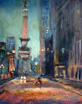 Indianapolis Painting - Indy Circle Monument by Donna Shortt