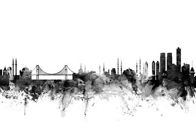 Turkish Digital Art - Istanbul Turkey Skyline by Michael Tompsett