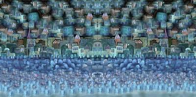 Jerusalem In Blue Print by Sandrine Kespi