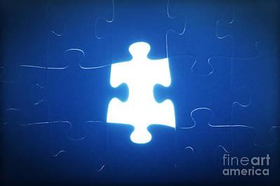 Jigsaw Puzzle Piece Missing Print by Michal Bednarek