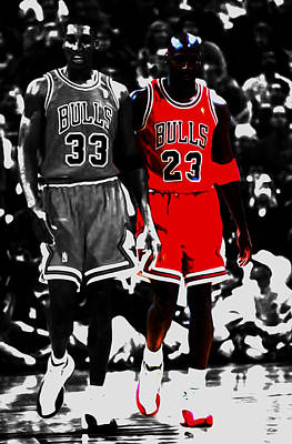 Jordan And Pippen Print by Brian Reaves