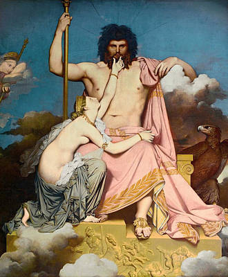 Thunderbolt Painting - Jupiter And Thetis by Jean-Auguste-Dominique Ingres