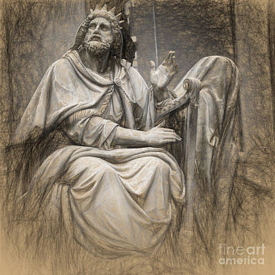 Piazza Drawing - King David  by HD Connelly