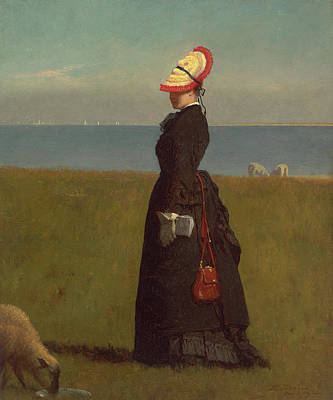 Eastman Johnson Painting - Lambs. Nantucket by Eastman Johnson