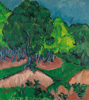 Expressionist Painting - Landscape With Chestnut Tree by Ernst Ludwig Kirchner