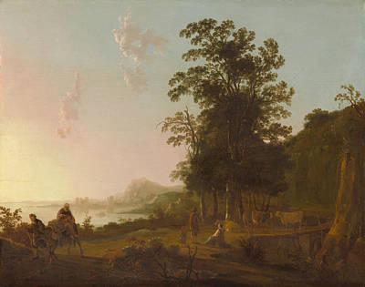 Riverside Painting - Landscape With The Flight Into Egypt by Aelbert Cuyp