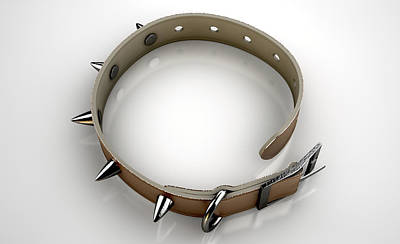 Leash Digital Art - Leather Studded Collar by Allan Swart