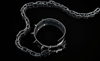 Leash Digital Art - Leather Studded Collar And Chain by Allan Swart