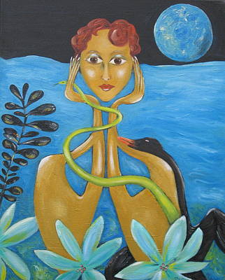 Leda And The Swan Original by Sue Wright