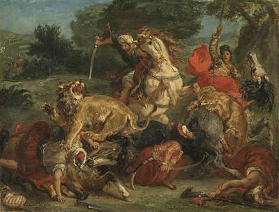Lion Hunt Print by Eugene Delacroix