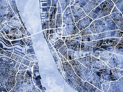 Liverpool England Street Map Print by Michael Tompsett