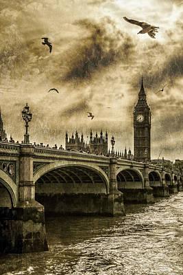 Big Ben Digital Art - London by Jaroslaw Grudzinski