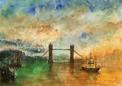 London Watercolor Painting Print by Juan  Bosco