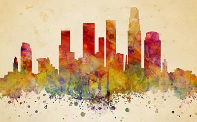 Los Angeles Skyline Mixed Media - Los Angeles  by JW Digital Art