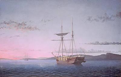Penobscot Bay Painting - Lumber Schooners At Evening On Penobscot Bay by Fitz Henry Lane